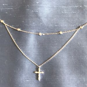 Sterling silver and crystal cross necklace